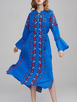 Bohemia Style Embroidery Midi Dress