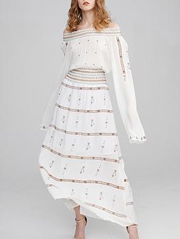 Boat Neck Embroidery White Maxi Dress