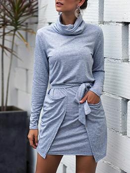 Heap Collar Pocket Solid Long Sleeve Dress