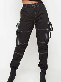 Multiple Pockets Ribbon Women Cargo Pants