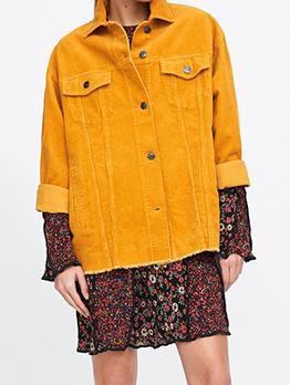 Corduroy Loose Casual Long Sleeve Womens Coats