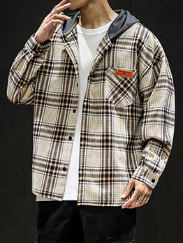 Autumn Hooded Collar Plaid Mens Coats