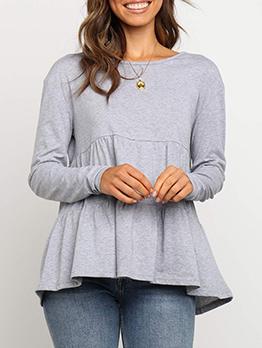 Minimalist Crew Neck Women Long Sleeve T-shirt