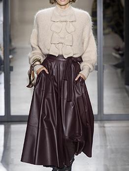 Fashion Pu High Waist Boutique Skirt