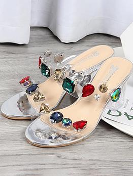 PVC Multicolored Gemstone Chunky Heeled Slippers