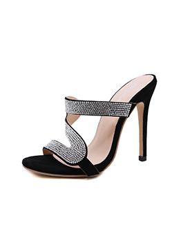 Mini Diamond Round Toe Slip On Ladies Slippers
