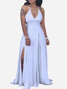 Sexy V Neck Backless Split Hem Maxi Dress