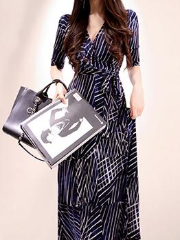 Ol Style v Neck Striped Short Sleeve Wrap Dress