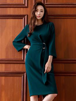 Ol Style Smart Waist Green Long Sleeve Dress