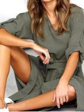 Euro Solid Loose Split Ladies Maxi Dresses