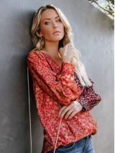 Vintage V Necck Long Sleeve Floral Shirt Women