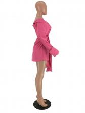 Off Shoulder Tie-Wrap Long Sleeve Shirt Dress