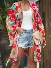 Flare Sleeve Tie Dye Cardigan Shirt Dress