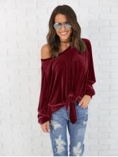 Velvet Tie Off One shoulder Casual Shirts