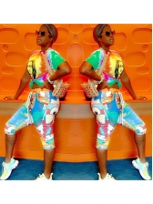 Contrast Color Cartoon Printed 2 Piece Outfits