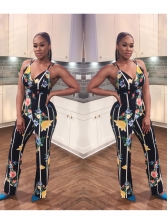 Deep V Neck Sleeveless Printed Jumpsuits For Women
