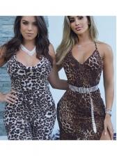 V Neck Leopard Printed Backless Jumpsuits For Women