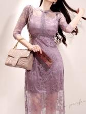 Crew Neck Smart Waist Purple Lace Midi Dress
