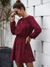 Keyhole V Neck Smart Waist Polka Dots Dress