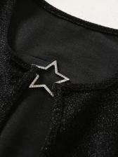 Sexy Rhinestone Pentagram Decor Glitter Crop Top
