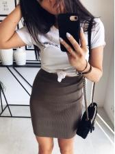 Minimalist Solid Color High Waist Pencil Skirt