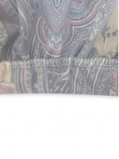 Vintage Printed Drawstring Long Sleeve Ladies Dress