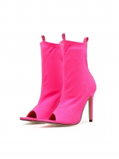 Peep-Toe Bright Color Stiletto Heeled Ankle Boots