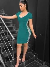 Casual v Neck Striped Side Bodycon Dress