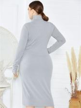 High Neck Stretch Solid Bodycon Plus Size Dress