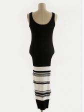 U Neck Striped Sleeveless Knitting Dress