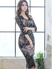 Elegant V Neck Lace Bodycon Dress For Women
