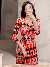 V Neck Contrast Color Geometric Printed Wrap Dress