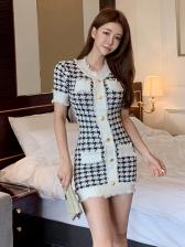 Elegant Houndstooth Short Sleeve Knit Dress