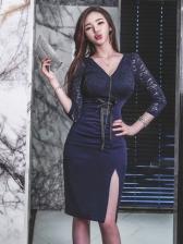 V Neck Lace Up Lace Patchwork Bodycon Dress