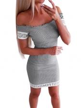 Off Shoulder Letter Printed Solid Bodycon Dress
