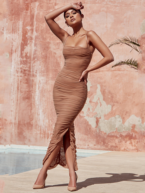 Spaghetti Strap Ruffle Bodycon Maxi Dress