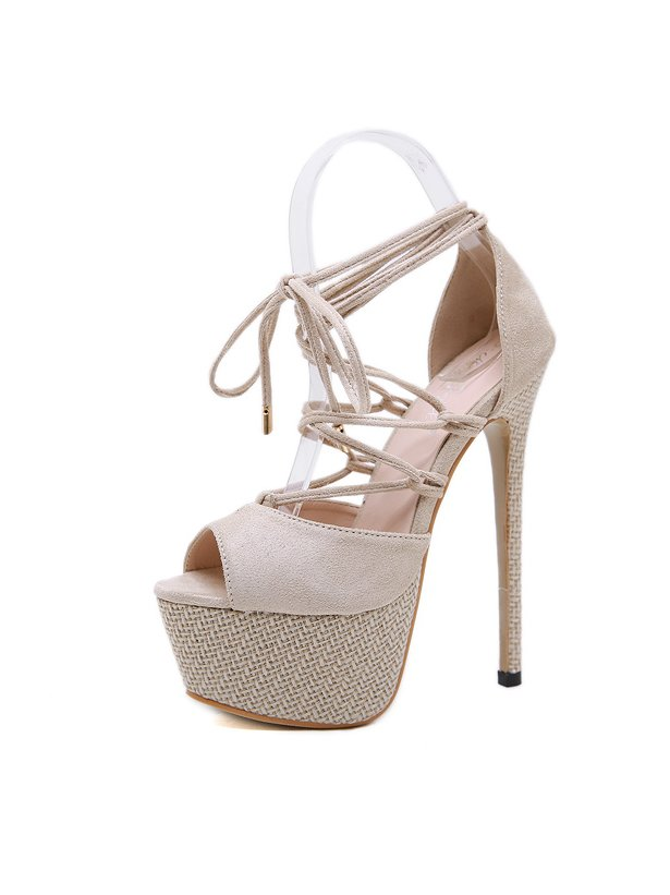 Chic Peep-Toe Super High Heels Strappy Sandals