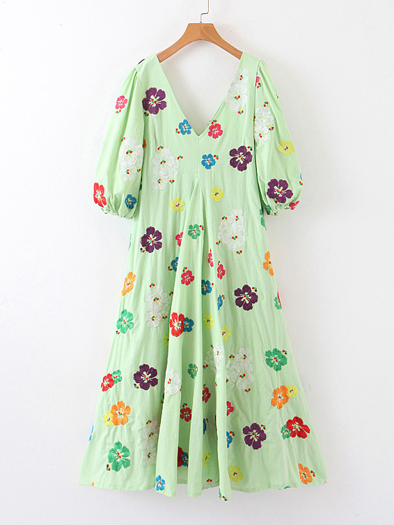 Boutique V Neck Flower Embroidery Puff Sleeve Green Dress