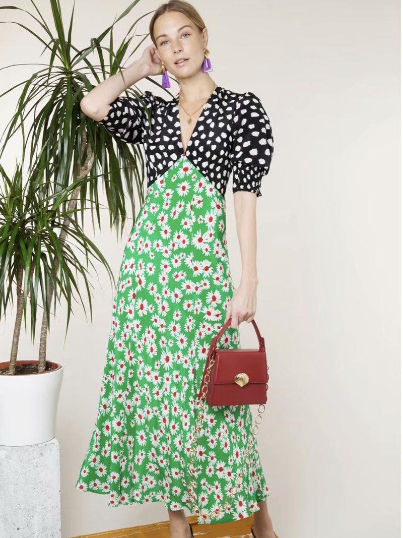 Patchwork Floral Side Slit Half Sleeves Dress