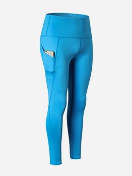 Solid Color Pocket Skinny Yoga Pants