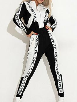 Black Printed Patchwerk Womens Sportswear