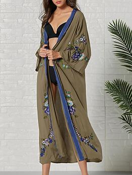 Bohemian Embroidery Cardigan Long Sleeves Dress