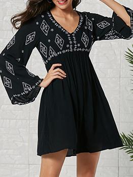Vintage Flare Sleeve Print Dresses
