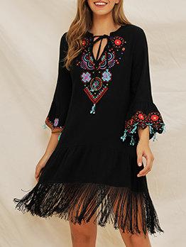 Bohemian Style Embroidery Tassels Short Dress