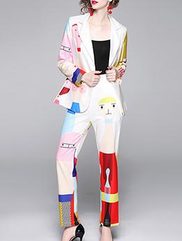 Ol Style Color Block Printing 2 Piece Pants Set