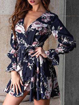 Printed Bow Lantern Sleeve Dress