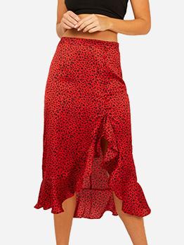 Leopard Printed Ruffles Hem High Waist Skirt