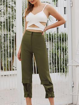 Solid Color Zipper Fly High Waist Trouser Pants