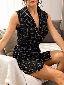 Fashion Plaid Sleeveless Blazer Dress