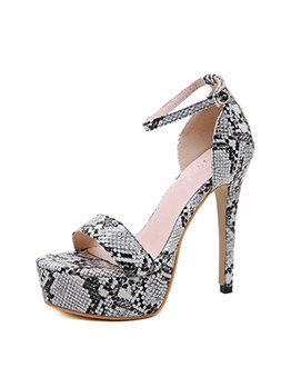 Snake Printed Ankle Strap Stiletto Platform Sandals